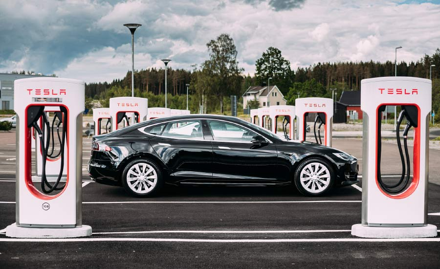 Tesla car in charging station