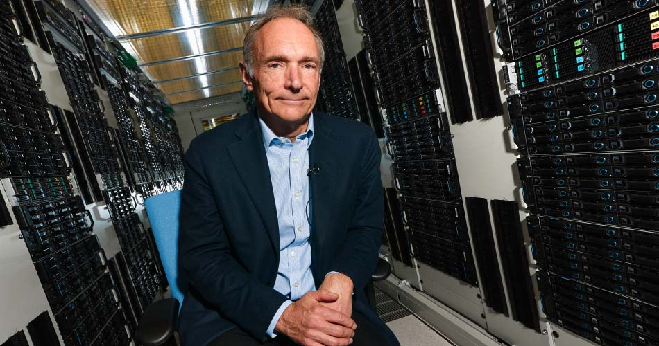 Portrait of Sir Tim Berners-Lee in a rack of the CERN Computer Centre